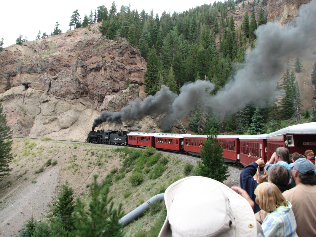 Riding the Cumbres & Toltec Scenic Railroad through the mountains.