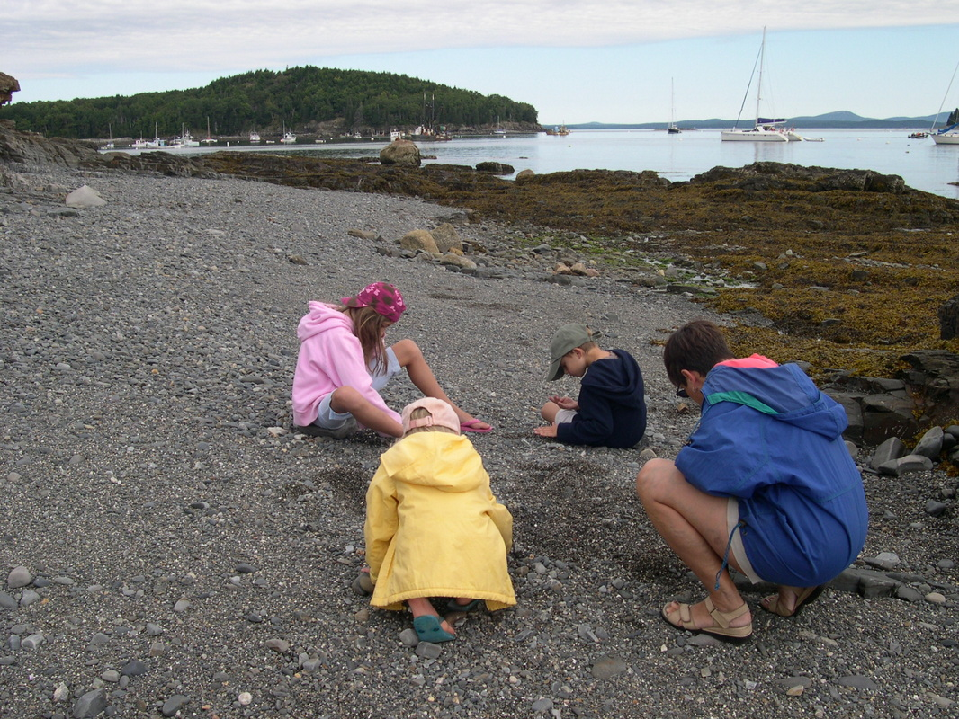 Looking for sea glass in Maine.