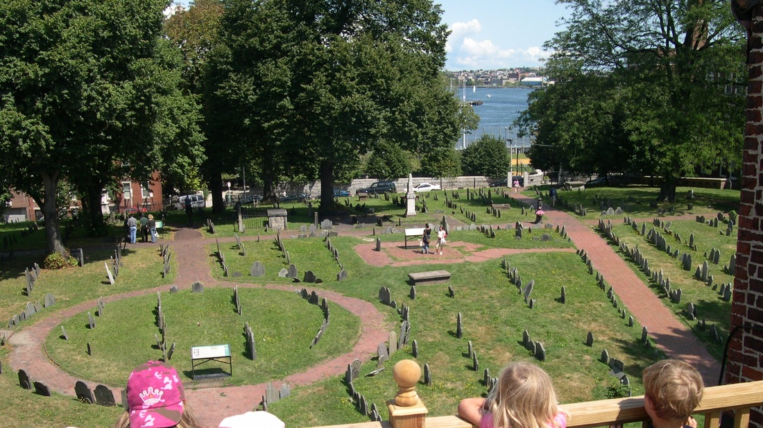 Rooftop view of historic Copp's Hill Burying Ground, North End, Boston.