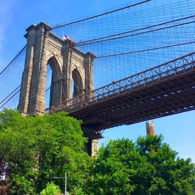 View of the Brooklyn Bridge from A Slice of Brooklyn Pizza Tour - first stop Grimaldi's.