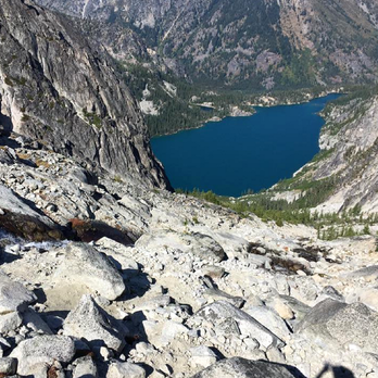 6 Days in the Enchantments -View of Colchuk Lake from the top of Aasgard Pass.