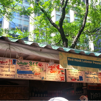 Eat on the Street in Greeley Square - One of 20 things to add to your NYC Bucket List.