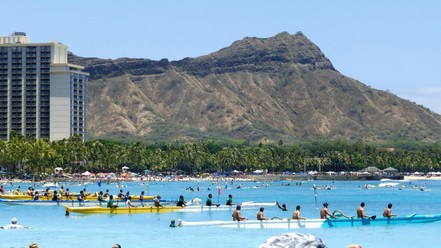 Canoe races on the beach in Waikiki.