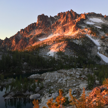Beautiful sunrise view from our campsite in the Enchantments. Read more about a 6 day backpacking adventure.