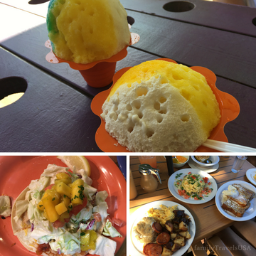 Local food favorites in Maui - Ululani's Hawaiian Shave Ice, fish tacos from Coconuts Fish Cafe and breakfast at Kihei Caffe.