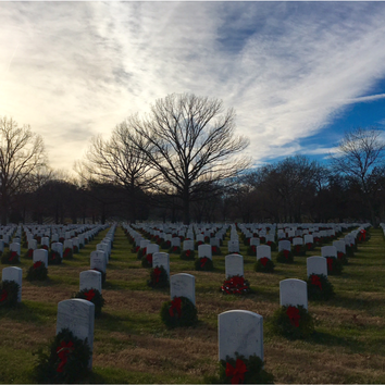 Arlington National Cemetery in late December.