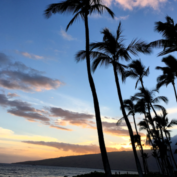 Pink skies from Sugar Beach in Maui.