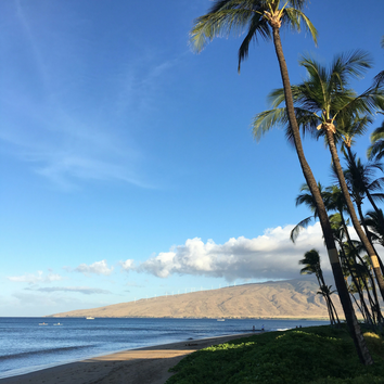 Loved the early morning view looking down the beach from the Kihei Sands condominiums in Maui.