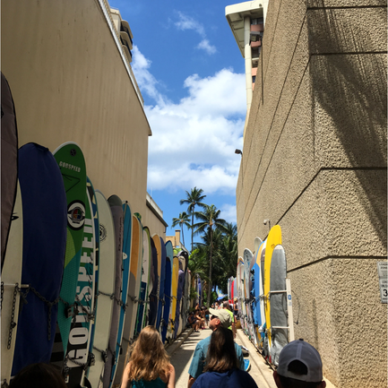 The walkway to the beach in Waikiki is lined with surfboards!