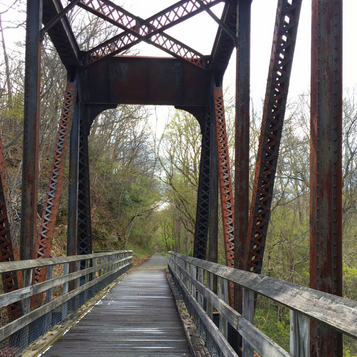 One of several scenic trestle bridges on the New River Trail in southwestern Virginia.