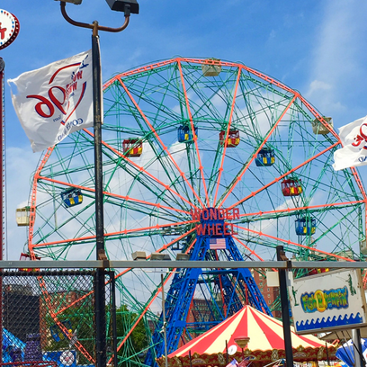 Visiting the WONDER WHEEL at Coney Island during A Slice of Brooklyn Pizza Tour. Add this fun tour to your NYC bucket list.